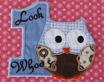 Applique number one with owl for boy