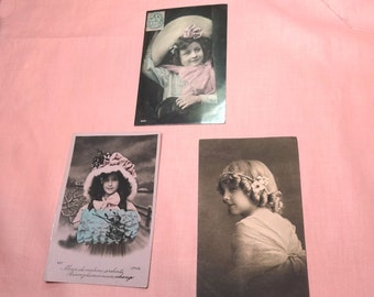 ANTIQUE PHOTO POSTCARDS post cards French little flirts, darling little girls.