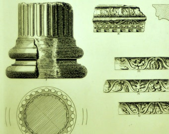 1845 Rare Large English Antique Engraving of British Architectural Gems. Fragments of a Roman Temple at Bath. Plate 8.