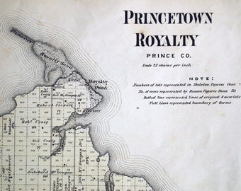 1880 Rare Vintage Map of Princetown Royalty, Prince County, Prince Edward Island - Vintage City Map - Old City Map