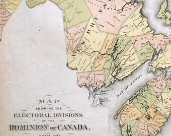 1880 Antique Electoral Map of the Atlantic Provinces / Northeast Canada - Canada Antique Map - Rare - Hand Coloured Map