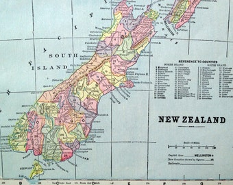 1899 Vintage Map of New Zealand and Tasmania - Old Map of New Zealand