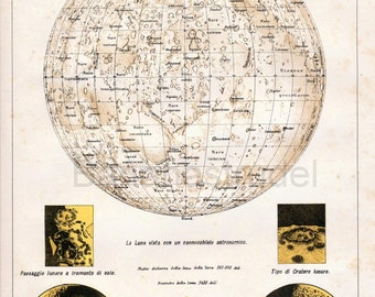 1907 Italian Antique Print of the Moon