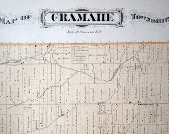 1878 Large Rare Vintage Map of Cramahe Township, Ontario, Canada - Handcolored
