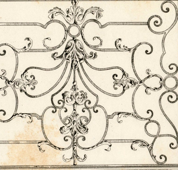 Antique Engraving of a Communion Grill in the Cathedral of Nancy. 1880 French Print of Decorative and Architectural Metalwork. Plate 39