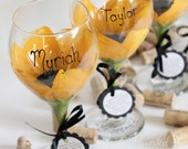 Sunflower wedding, bridesmaid wine glass, wedding wine glasses, personalized gifts, painted wine glass, floral wine glass, wedding favors