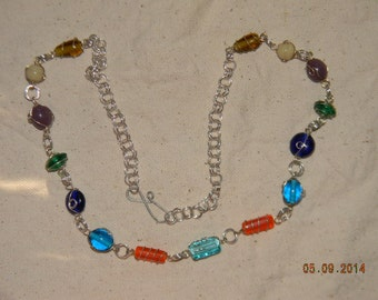 Roman Style Glass Bead and Chainmaille Link Necklace