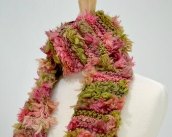 Pink and Green Designer Scarf, Fuzzy Boho Scarf