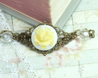 Yellow Rose Bracelet Rose Cameo Jewelry Victorian Bracelet Romantic Jewelry Rose Cameo Bracelet