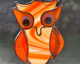 Olivia the Orange Owl  Stained Glass Suncatcher