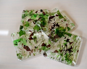 Crimson and Clover Fused Glass Coasters