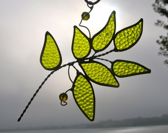 Morning Dew Leaf Branch Stained Glass Suncatcher