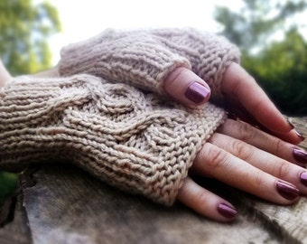 Knitting Pattern for Cabled Handsies Fingerless Gloves