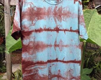 Mens Large premium blue and brown Shibori Landscape tie Dye T-shirt