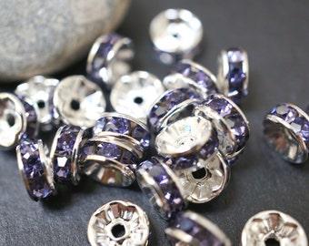 20% OFF - Silver Plated Purple Amethyst Rhinestone Spacers - 8mm - 10 pcs