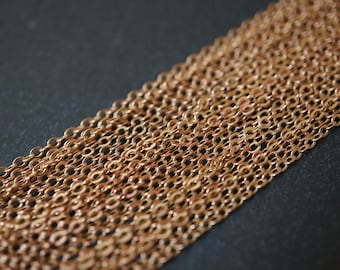Raw Brass Rolo Small Boxed Cable Chain 1.5mm x 2mm - 10 Feet