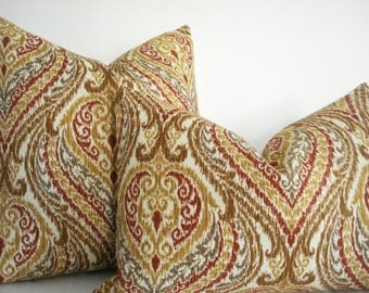 SPICEY IKAT- Decorative Pillow Cover-Designer fabric by Braemore - Rusty Red -Gold -Tan- Creamy Ivory Throw and  Lumbar Pillow