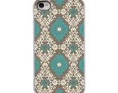 On Sale! Teal Tan White Damask with White, Black, Clear Sides - IPhone Case 4, 4S, 5, 5S, 5C Hard Cover - Fun Unique Trendy  - artstudio54