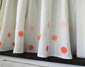 Polka Dot Linen Cafe Curtains hand block printed in three tints of coral, cherry, aqua or french blue home decor two panels
