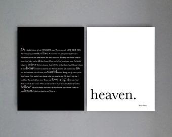 Romantic couples gift, Bryan Adams Song Lyrics, Heaven, master bedroom decor, Engagement Gift, Anniversary Decor. Bridal Shower Gift