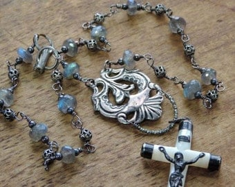 Faith - -Antique Assemblage Necklace Mother of Pearl Crucifix Layering Necklace Sterling Silver Labradorite