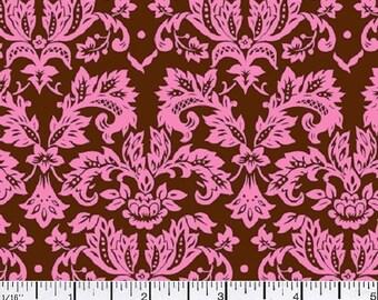 Petite Damask - Pink on Brown - Half Yard