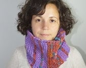 Purple and Orange Handspun Handknit Cowl, Neck warmer, Winter Accessory, Wool and Silk, US Sheep, Alpaca, Organic