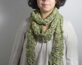 Sale Boho Chic Handknit Scarf, Neck warmer, Winter Accessory, Cotton Rayon and Linen, Extra long, Green and yellow
