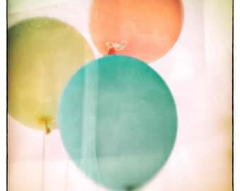 Nursery Decor, Balloon photography, mid century, wall art, wall hanging, wall art, teal, yellow, county fair, children's photo