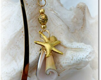 Seashell & Gold Charm Book Mark