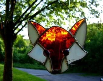 Fox Foxes Stained Glass Suncatcher Valentines Yule Decor Woods Wild Animals Forests Freddy Fox Wedding Housewarming Summer Birthday