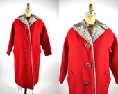 1950s coat vintage 50s red wool gray faux fur collar coat