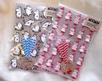 Moomin Food Safe Clear Plastic Bags - Set of 10 - Moomin / Little My