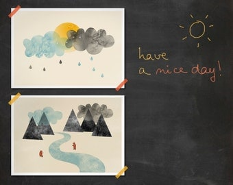 Set of two prints Great day and River friends - Sun clouds bears mountains river sunny rain 8 x 11.5