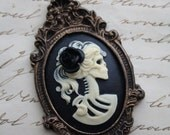 Skull Cameo brooch - Gothic Skeleton Cameo Lady Lolita - with Rose in her Hair - Gold Bronze Black