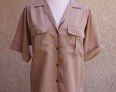 vintage tan safari blouse oversized baggy 80s shirt silky top