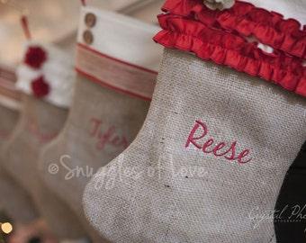 Set of 6 Burlap Stockings - Personalized Burlap Christmas Stockings - Monogrammed Burlap Stockings - Shabby Chic Stocking Designs