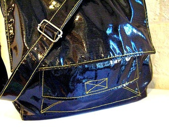 READY TO SHIP Vegan Bag in Oilcloth Fabric, Black Messenger Bag with Yellow Topstitch