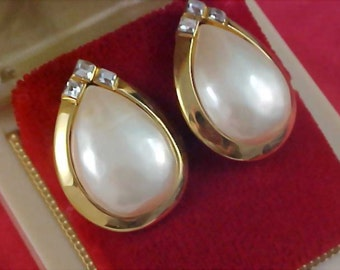 Simulated Pearls & Square Cut Diamante Gold Plate Post Earrings.by Designer ART