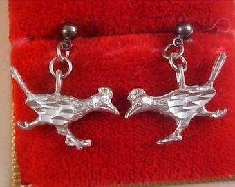 Reduced~SOUTHWEST Fine PEWTER - Delicately Carved ROADRUNNER Pristine Post Earrings - Hypo Allergenic