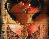 choker and necklace upcycled vintage Gothic Cross pendant