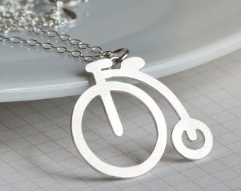 Penny Farthing Necklace In Sterling Silver, English Style Necklace Handmade In The UK