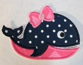 Girl and Boy Whales - Iron On or Sew On Embroidered Custom Made Appliques