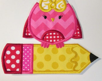 Iron On Applique - Back To School Boy and Girl Owls with Pencils