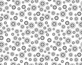 White Black Dots Circles Evening Blooms Fabric - Riley Blake - C3512