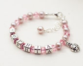 Flower girl baby toddler girl pink crystal freshwater pearl bracelet with a choice of charm