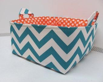 "Diaper Caddy - Fabric Storage Basket - 11""x11"" Organizer Bin - Storage box - Diaper Bag -Baby Gift - Nursery Decor Turqouise Chevron Zigzag"
