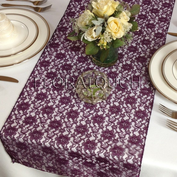 Perfect Plum Lace Wedding Table Runner