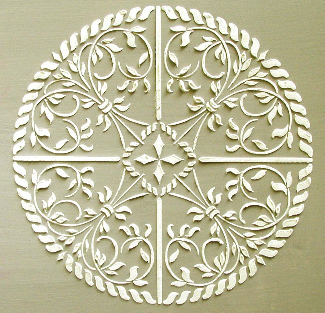 Wall painting stencils designs - Raised Plaster Astana Medallion Stencil Wall Stencil