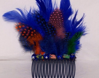 Royal Blue Multicolor Feather Hair Comb